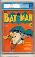 """Golden Age (1938-1955):Superhero, Batman #6 (DC, 1941). An outstanding cover of the Dynamic Duo leads off these """"brand new whirlwind adventures!"""" This is a ve..."""
