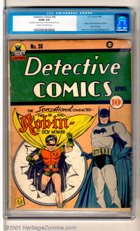"Detective Comics #38 (DC, 1940). The introduction of Robin, the Boy Wonder -- ""The Sensational Character Find of 19..."