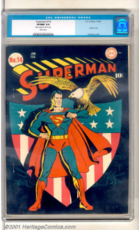 Superman #14 (DC, 1942). The greatest of all superheroes stands tall and majestic on this fabulous patriotic WWII cover...
