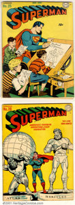 Golden Age (1938-1955):Superhero, Superman Early Mid-Grade Group (DC, 1943-44). Nice lot of three early mid-grade issues of Superman. Includes: #25 VG, class... (Total: 3 Comic Books Item)