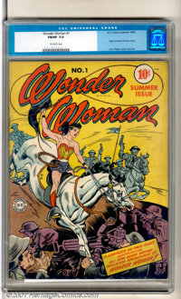 Wonder Woman #1 (DC, 1942). A lovely copy of this key book starring the Amazing Amazon. There is some minor spine stress...