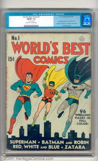 World's Best Comics #1 (DC, 1941). Superman and Batman were already big stars by the Spring of 1941, so putting them tog...