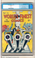 Golden Age (1938-1955):Superhero, World's Finest Comics #7 (DC, 1942). Superman, Batman and Robin lead the US Navy armed forces into battle on this beautiful...