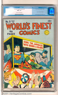 "World's Finest Comics #8 (DC, 1942). Superman, Batman and Robin work to help sink ""Japanazis"" with War Bonds a..."