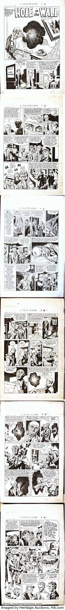 """Jack Kirby - Original Art for """"Hole in the Wall"""" from Alarming Tales #2 - Complete 6-Page Story (Harvey Publications, 1957)...."""