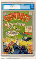 Silver Age (1956-1969):Superhero, Superboy #54 (DC, 1956). The Boy of Steel loses his voice in this fun-filled issue. Light spine wear, some very light creasi...