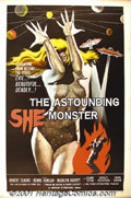 "Movie Posters:Science Fiction, Astounding She Monster (American-International, 1958) One-Sheet (27"" X 41""). A Samuel Arkoff-James Nicholson film about a be..."