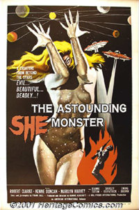 "Astounding She Monster (American-International, 1958) One-Sheet (27"" X 41""). A Samuel Arkoff-James Nicholson f..."