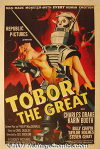 """Tobor the Great (Republic, 1954) One-Sheet (27"""" X 41""""). This poster features the classic Science Fiction graph..."""