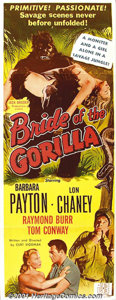 "Movie Posters:Adventure, Bride Of The Gorilla (Jack Broder Prod., 1951) Insert (14"" X 36""). One of the classic schlock films of all time! This jungle..."