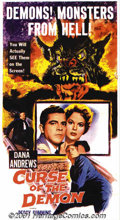 """Movie Posters:Horror, Curse of the Demon (Columbia, 1957) Three-Sheet (41"""" X 81""""). Jacques Tourneur directed this classic horror film which stars ..."""