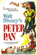 "Movie Posters:Animated, Peter Pan (RKO, 1953) One-Sheet (27"" X 41""). James M. Barrie'sclassic tale of the boy who would never grow up was delightfu..."