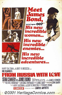 "From Russia With Love (United Artists, 1963) One-Sheet (27"" X 41""). Style A. Ian Fleming's James Bond set the..."