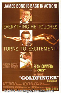"Goldfinger (United Artists, 1964) One-Sheet (27"" X 41""). Bond must stop the title character before he can cont..."