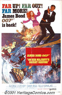 "On Her Majesty's Secret Service (United Artists, 1969) One-Sheet (27"" X 41"") Style B. Unknown George Lazenby w..."