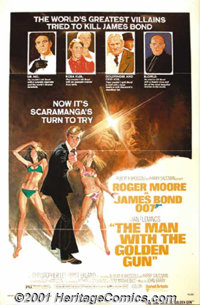 "The Man With Golden Gun (United Artists, 1974) One-Sheet (27"" X 41"") Style B. Roger Moore inherited the role o..."