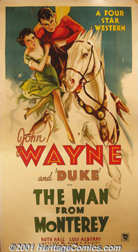 "The Man From Monterey (Warner Brothers-First National, 1933) Three-Sheet (41"" X 81""). John Wayne starred in fi..."