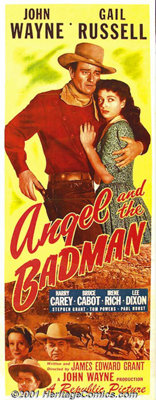 "Angel and the Badman (Republic, 1947) Insert (14"" X 36""). In a strange turn of character for John Wayne, ""..."