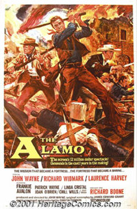 "The Alamo (United Artists, 1960) One-Sheet (27"" X 41""). John Wayne went into debt to finance and direct this e..."
