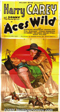 "Movie Posters:Western, Aces Wild (Commodore, 1936) Three-Sheet (41"" X 81""). Throughout the'20's, Harry Carey was a major western star and a contem..."