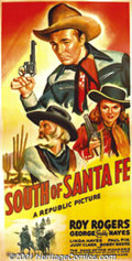"Movie Posters:Western, South of Santa Fe (Republic, 1942) Three-Sheet (41"" X 81""). BeforeRoy Rogers teamed up with his wife, Dale Evans, he appear..."