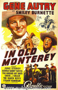 "Movie Posters:Western, In Old Monterey (Republic, 1939) One-Sheet (27"" X 41""). Gene Autrybegan his career as a radio-singing star, but soon Hollyw..."