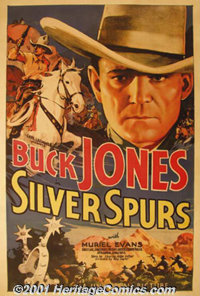 "Silver Spurs (Universal, 1936) One Sheet (27"" X 41""). By 1935 Buck Jones had joined Universal Studios, which w..."