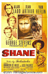 """Shane (Paramount, 1953) One-Sheet (27"""" X 41""""). Alan Ladd single-handedly changed the image of what the Western..."""