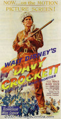 "Movie Posters:Western, Davy Crockett, King of the Wild Frontier (Buena Vista, 1955) Three-Sheet (41"" X 81""). The impact of television on feature fi..."