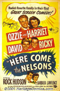 "Movie Posters:Comedy, Here Come the Nelsons (Universal, 1952) One Sheet (27"" X 41"").Before the television series ""Ozzie and Harriet"", this film w..."