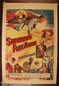 "Superman Flies Again (20th-Century Fox, 1954) One-Sheet (27"" X 41""). 20th-Century Fox purchased fifteen episod..."
