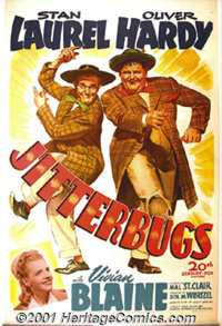 "Jitterbugs (20th-Century Fox, 1943) One-Sheet (27"" X 41""). A wonderful poster featuring the grand comedy team..."