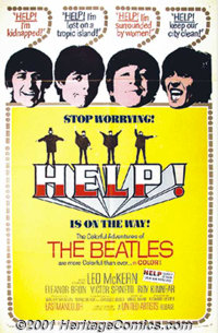 "Help! (United Artists, 1965) One-Sheet (27"" X 41""). A religious sect is out to get one of Ringo's rings! This..."