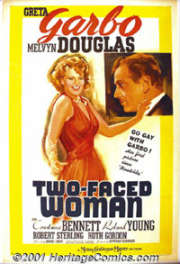 """Two-Faced Woman (MGM, 1941) One-Sheet (27"""" X 41"""") Style D. This was the divine Greta Garbo's last film appeara..."""