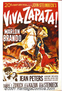 "Viva Zapata (20th-Century Fox, 1952) One-Sheet (27"" X 41""). Marlon Brando brings to life the role of Emilio Za..."