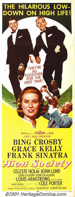 "High Society (MGM, 1956) Insert (14"" X 36""). Just before Grace Kelly departed the screen to become a Princess..."