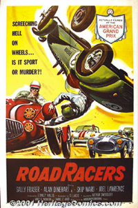 "Road Racers (American-International, 1959) One-Sheet (27"" X 41""). This great poster for a low budget feature c..."