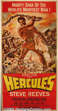 "Hercules (Warner Brothers, 1959) Three-Sheet (41"" X 81""). This Italian import was a surprise hit in the U.S. a..."