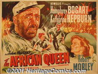 "The African Queen (United Artists, 1952) British Quad (30"" X 40""). John Huston led his cast and crew on an ama..."