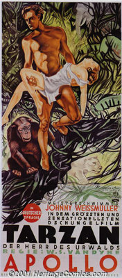 "Tarzan, the Ape Man (MGM, 1932) Austrian (three-sheet 48""x109""). Beautiful litho of Tarzan with Jane in his ar..."