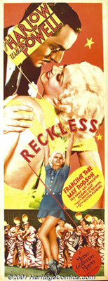 """Reckless (MGM, 1935) Insert (14"""" X 36""""). Although her career was cut tragically short, Jean Harlow remains one..."""