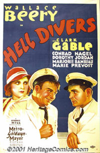 "Hell Divers (MGM, 1932) One-Sheet (27"" X 41""). Clark Gable and Wallace Beery are boisterous rivals in the Nava..."
