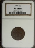 Two Cent Pieces: , 1869 2C MS64 Brown NGC. NGC Census: (57/19). PCGS Population (29/2). Mintage: 1,546,500. Numismedia Wsl. Price for NGC/PCGS...