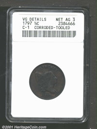 1797 1/2 C Plain Edge--Corroded, Tooled--ANACS. VG Details, Net AG3. B-1, C-1, R.2. Like the coin above, we are again un...