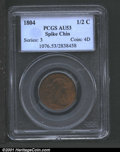 1804 1/2 C Spiked Chin AU53 PCGS. B-7, C-8, R.1. The most common die marriage of this popular variety, the present examp...