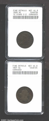 1807 1/2 C --Corroded--ANACS, Fine Details, Net VG8, irregular tan and medium brown colors are draped over both sides wi...
