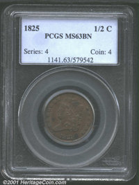 1825 1/2 C MS63 Brown PCGS. This olive-brown example is limited in grade by a pair of toning spots on the obverse. Well...