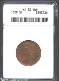 1828 1/2 C 13 Stars MS62 Brown ANACS. A bold strike with excellent detail to the highpoints of the hair and the eyebrow...