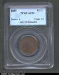 1835 1/2 C AU53 PCGS. Mottled brown and reddish-brown patina with a sharp strike. ...(PCGS# 1168)