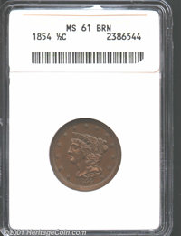 1854 1/2 C MS61 Brown ANACS. Both sides are toned in even glossy-brown patina with needle sharp striking definition thro...